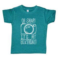 Oh Snap It's My Birthday - Funny Kids Birthday Party Camera Shirt - American Apparel Evergreen Tri Blend Boys or Girls Birthday Shirt