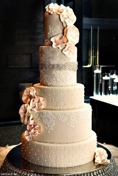 Stunning lace + quilted wedding cake with that old world romance feel