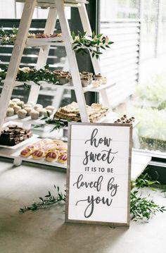 66 Super Sweet Wedding Dessert Display and Table Ideas Farm Wedding, Wedding Signs, Rustic Wedding, Dream Wedding, Wedding Fun, Wedding Vows, Purple Wedding, Gold Wedding, Wedding Events