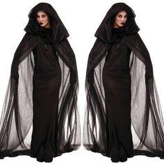 Halloweenkostüm Tüll Kleid für Frauen Damen Ghost Hexenkleid Halloweenparty