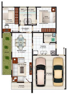 Nice layout but I would change dimensions. One car garage to make tv room bigger. both bedrooms share a bath with washer and dryer to make more room in the kitchen. New House Plans, Modern House Plans, House Floor Plans, Custom Home Plans, Home Design Plans, Craftsman Floor Plans, India House, Plans Architecture, House Map