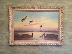 Teal flying over the marsh. Oil on canvas Still Life Oil Painting, English Artists, Oil On Canvas, House Design, Landscape, Antiques, Awesome, Teal, Paintings
