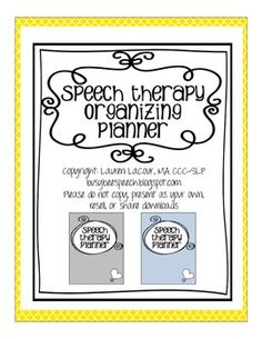 Speech Therapy Organizing Planner