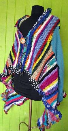 Colorful sweater created from Upcycled afghan with by monapaints, $195.00