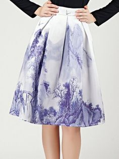 Shop White Ink Painting Pleats High Waist Skirt from choies.com .Free shipping Worldwide.$24.29