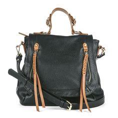 Black Handbag with Brown Braided Tassels and Handle.