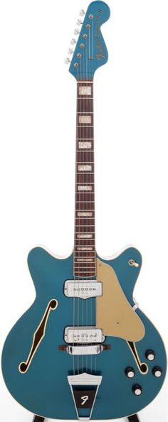 1972 Fender Coronado II Lake Placid Blue Semi-Hollow Body Electric Guitar.