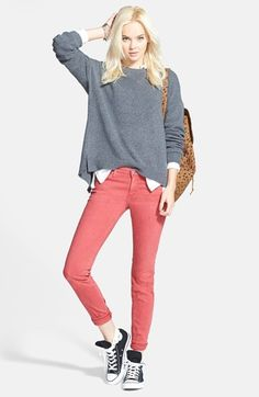 Free shipping and returns on Hinge Zip Back Sweater & AG Jeans Skinny Stretch Denim Jeans at Nordstrom.com.