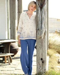 Cotton voile embroidery 3/4 sleeve blouse, linen trousers, spring, Saltwater, saltwater.net