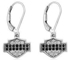H-D Black & White Bling B&S Drop Earrings HDE0338