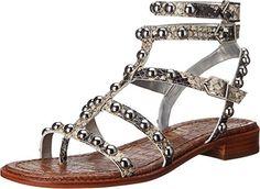 abdd3e59f962 Sam Edelman womens eavan putty shiny burmese python print leather sandal  Burmese Python