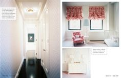 left panel: yes to wall paper and anchoring framed piece    right panel: yes to chair