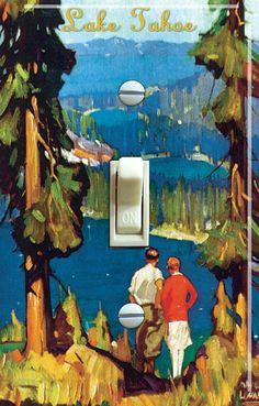 Tahoe Region vintage poster SWITCH PLATE  - - FREE Shipping - - by VintageSwitchPlates on Etsy