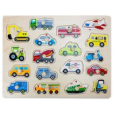 Imagination Generation Professor Poplar's Jumbo People Movers Car, Truck, Vehicles Wooden Peg Puzzle, Multicolor