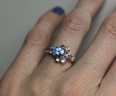 Light Blue Sapphire Ring Cluster Engagement Ring by capucinne