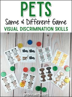 "Pets ""Same & Different"" Visual Discrimination Game (free; from PreKinders)"