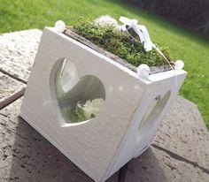 Ringkissen Ringhalter Herz Box weiß grün für Eheringe zur Hochzeit Liebe