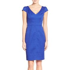 Adrianna Papell Cap Sleeve Jacquard Sheath Dress ($55) ❤ liked on Polyvore featuring dresses, iris, v neck dress, cap sleeve dress, blue sheath dress, v neck cap sleeve dress and blue dress