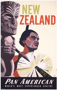 Pan American Airways Poster Print New Zealand Vintage Travel Retro Poster, Poster Vintage, Vintage Travel Posters, Vintage Airline, 1950s Posters, Posters Australia, Voyage Usa, Magazin Covers, Pub Vintage