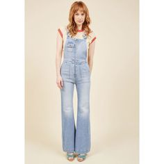 Rolla's Founder of Flair Denim Overalls featuring polyvore, women's fashion, clothing, jumpsuits, apparel, bottoms, denim pant, flare denim pant, varies, pink jumpsuit, flared jumpsuit, overalls jumpsuit, pink bib overalls and denim overalls
