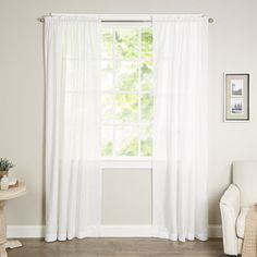 "Vue Signature Carrington Window Single Curtain Panel Color: White, Size: 52"" W x 84"" L"