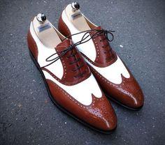 b1c7fe9c7 Handmade Men Wingtip two tone Spectator formal shoes, Muži V Koži, Veci Pre  Chlapov
