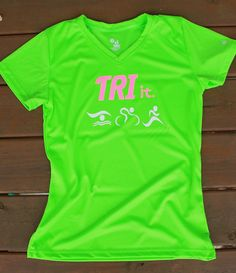 096c477f5ed Items similar to Lime Green TRIATHLON V-Neck Performance Tee With Hot Pink  Neon TRI it! Be Seen! on Etsy