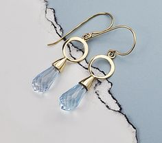 Topaz and 14K Earrings,  Blue Topaz and Solid Yellow Gold Earrings, 14K Hoop Earrings,Topaz Briolette Earrings, Sky Blue Topaz and 14K