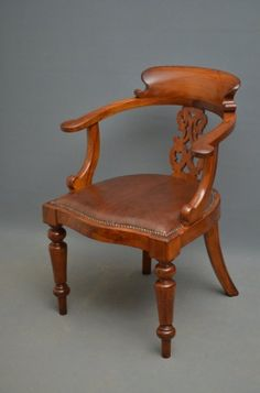 Victorian Office Chair on AntiqueForSale from Nimbus Antiques Victorian Office Chairs, Desk Chair, Cool Furniture, Antiques, Moonlight, Wood, Silk, Home Decor, Home Decorations