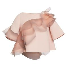Shop Rose Wool Crepe Top With Ruffle Detail. This wool crepe Marc Jacobs top features a boat neck, elbow-length sleeves, and an asymmetric three-dimensional ruffle detail. Frilly Shirt, Rose Shirts, Pink Shirts, Half Sleeve Shirts, Chiffon, Style Couture, Crepe Top, Fashion Details, Fashion Design