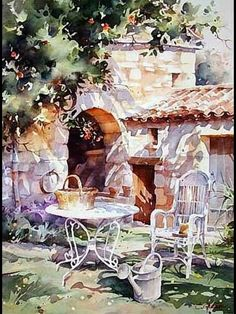 "Photo from album ""Christian Graniou"" on Yandex. Watercolor Artists, Watercolor Landscape, Watercolor And Ink, Watercolor Illustration, Watercolour Painting, Landscape Art, Painting & Drawing, Watercolors, Pinturas Em Tom Pastel"