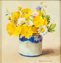 Anne Cotterill [1933-2010] - Buttercup and Daisies; Scottish Thistle - a pair, both signed oils on board each 11 x 11cm (2)* with Thompsons Gallery, Dover St., London.