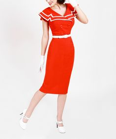 Red & White Belted Bodycon Dress - Women & Plus   zulily