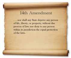 "The US Constitution is the SUPREME law that all state/federal governments including the military/police forces must follow. Section1 of the 14th Amendment states ""all persons born…in the US are citizens of the US and of the State wherein they reside. NO STATE SHALL MAKE OR ENFORCE ANY LAW WHICH SHALL…DEPRIVE ANY PERSON OF LIFE, LIBERTY, OR PROPERTY, WITHOUT DUE PROCESS OF LAW; NOR DENY TO ANY PERSON WITHIN ITS JURISDICTION THE EQUAL PROTECTION OF THE LAWS."" Justice for Mike Brown et. al"