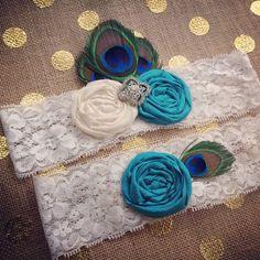 PEACOCK Wedding Garter set / CHOOSE COLORS / Vintage Inspired Wedding garter / Garter Set / bridal garter / toss garter / Something Blue on Etsy, $39.99