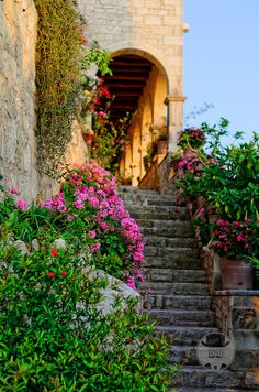 Flower stairs, Crete, Greece ... Book & Visit Greece now via www.nemoholiday.com or as alternative you can use greece.superpobyt.com.... For more option visit holiday.superpobyt.com.