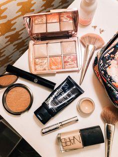 New Spring Beauty Routine — Hello Adams Family - US Makeup Trends Flatlay Makeup, Glam Makeup, Skin Makeup, Beauty Makeup, Huda Beauty, Glowy Skin, Flawless Makeup, Makeup Blog, Makeup Kit