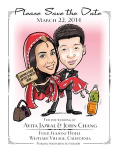 Indian Wedding Caricature Save the Date Cards and by devhunt1
