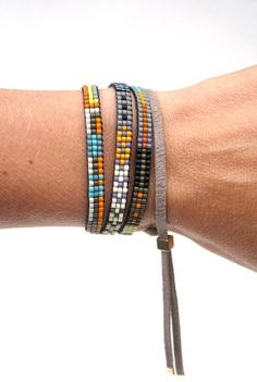 HILO wrap/necklace; Julie Rofman Jewelry - handwoven beaded cuff;