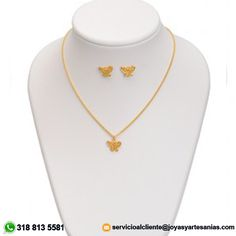 Set Cadena delgada, dije mariposa y aretes baño en oro de 24k, #joyasprecolombinas http://www.joyasyartesanias.com/set-cadena-delgada-dije-mariposa-y-aretes.html
