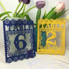 Papel Picado Table Numbers, Fiesta Decorations, Mexican Weddings, Rehearsal Dinners, Table Decor, Set of 6 by lulaflora on Etsy https://www.etsy.com/listing/219370398/papel-picado-table-numbers-fiesta