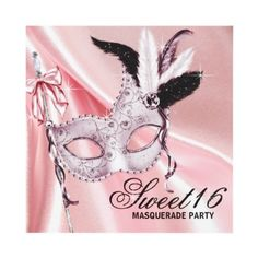 Pink Black Sweet 16 Masquerade Party Custom Invitations by Pure Elegance