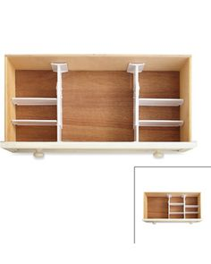 "unique set of six organizers. Each piece uses tension to stay in place. Two expandable drawer dividers adjust from 11 1/2"" to 20"", and four measure 7 3/4"" long. All dividers are 3 3/4""  bed bath and beyond"