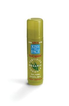 Kiss My Face Hot Spots Certified Organic Formula Sunscreen, SPF 30 - .5 oz by Kiss My Face. $24.58. Kiss My Face Obsessively Organic Hot Spots, UVA SPF30 UVB .5 oz.. This is perfect for all those delicate facial areas that need protection from the sun - ears, brow, lips, nose, cheeks. Made with 52% certified organic ingredients including beeswax, coconut oil, aloe and wild-crafted shea butter, this non-scented, water-resistant stick is the perfect source of natural ...