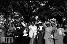 """Women in their Sunday Best at the 1957 """"Prayer Pilgrimage for Freedom,"""" where Dr. Martin Luther King, Jr. delivered his""""Give Us the Ballot"""" speech in front of the Lincoln Memorial."""
