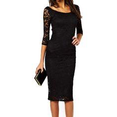 Elegant Lace Three Quarter Midi Bodycon Dress (115 DKK) ❤ liked on Polyvore featuring dresses, lace sheath dresses, bodycon dress, 3 4 length sleeve dress, 3/4 sleeve dresses and bodycon midi dress