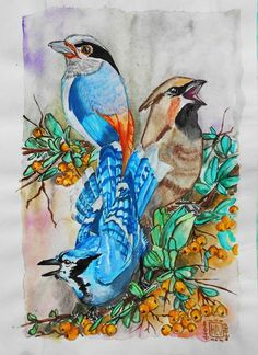 Three little birds   Rise up this mornin' Smiled with the risin' sun Three little birds Pitch by my doorstep Singin' sweet songs Of melodies pure and true Saying' : This is my message to you........ #Watercolors