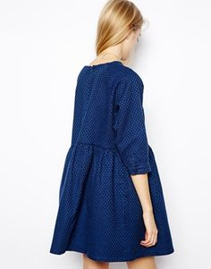 Image 2 ofASOS Smock Dress in Premium Honeycomb Denim