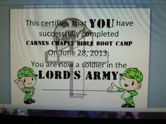 Diploma for bible boot camp lords army