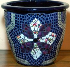 BLUE GREEN MOSAIC POT